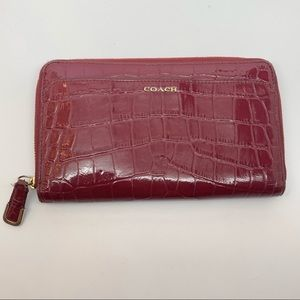 COACH Red Madison Zip Wallet Red Croc Leather